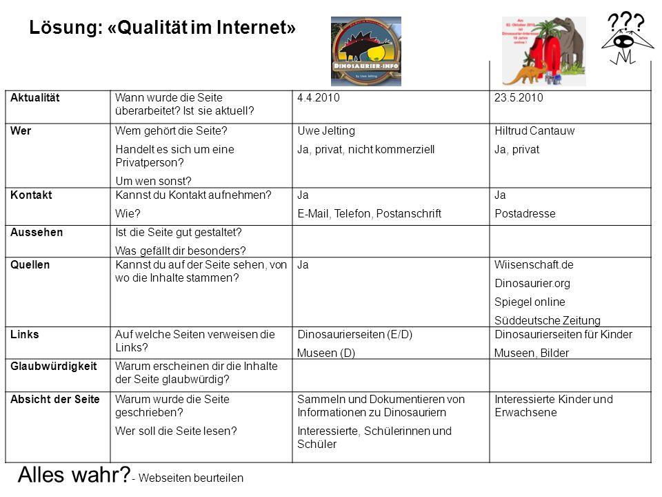 Lösung: «Qualität im Internet»
