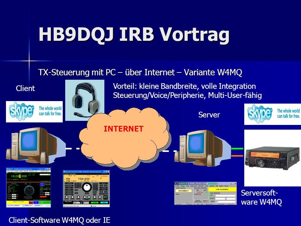 HB9DQJ IRB Vortrag TX-Steuerung mit PC – über Internet – Variante W4MQ