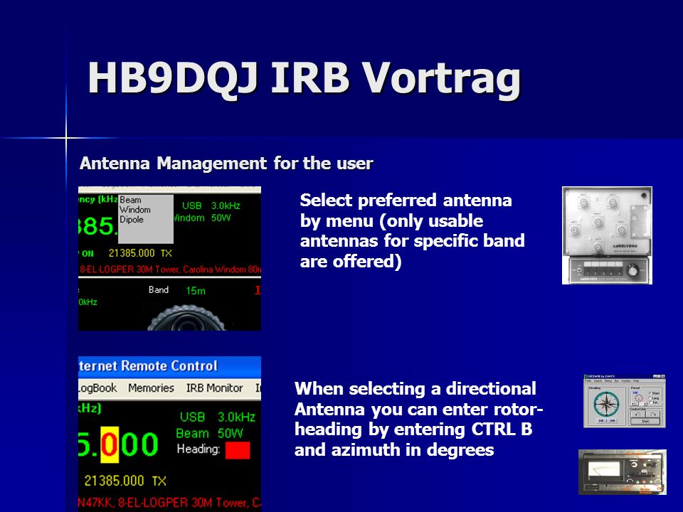 HB9DQJ IRB Vortrag Antenna Management for the user