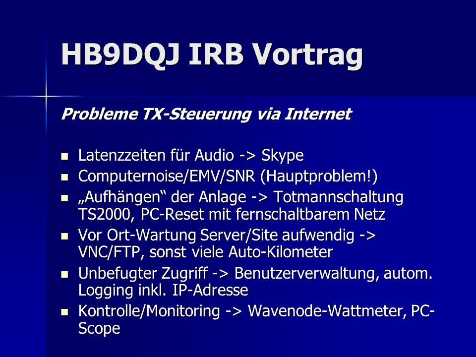 HB9DQJ IRB Vortrag Probleme TX-Steuerung via Internet