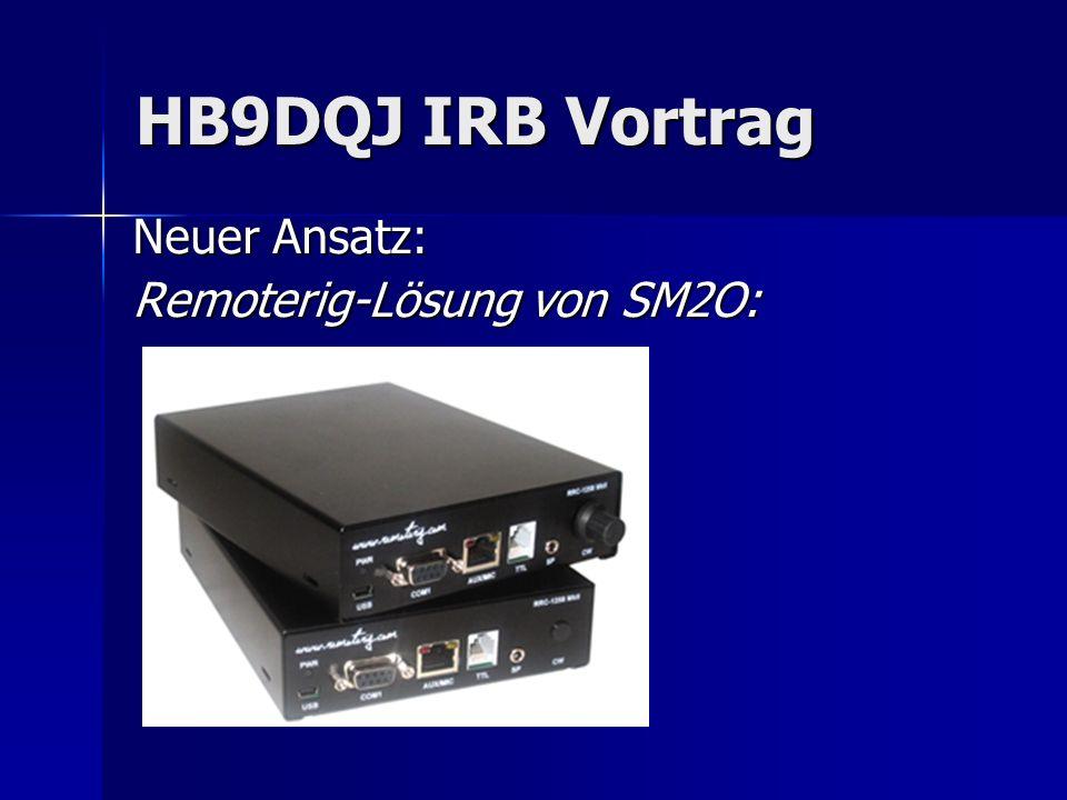 HB9DQJ IRB Vortrag Neuer Ansatz: Remoterig-Lösung von SM2O: