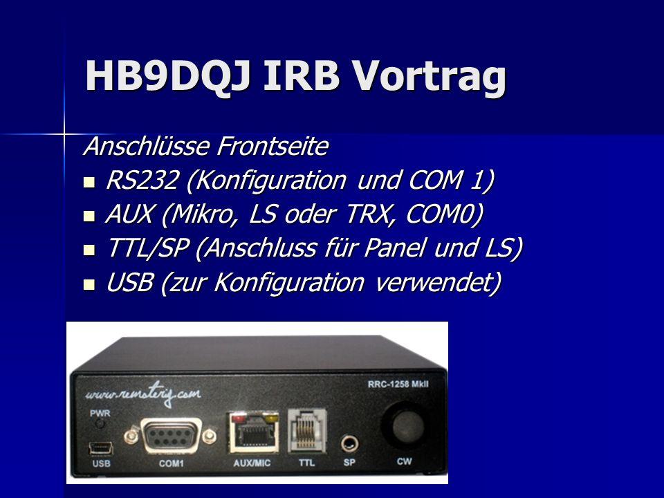 HB9DQJ IRB Vortrag Anschlüsse Frontseite