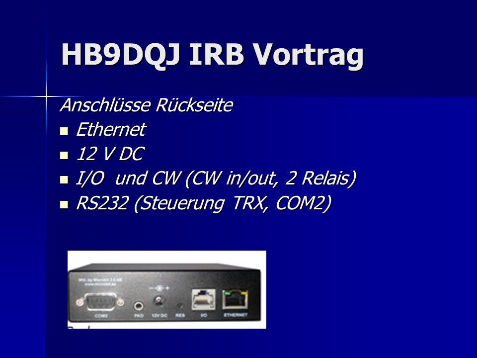 HB9DQJ IRB Vortrag Anschlüsse Rückseite Ethernet 12 V DC