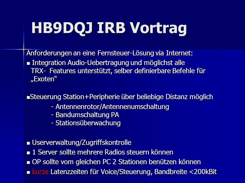 HB9DQJ IRB Vortrag Anforderungen an eine Fernsteuer-Lösung via Internet: