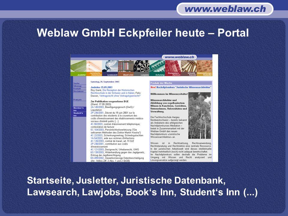 Weblaw GmbH Eckpfeiler heute – Portal