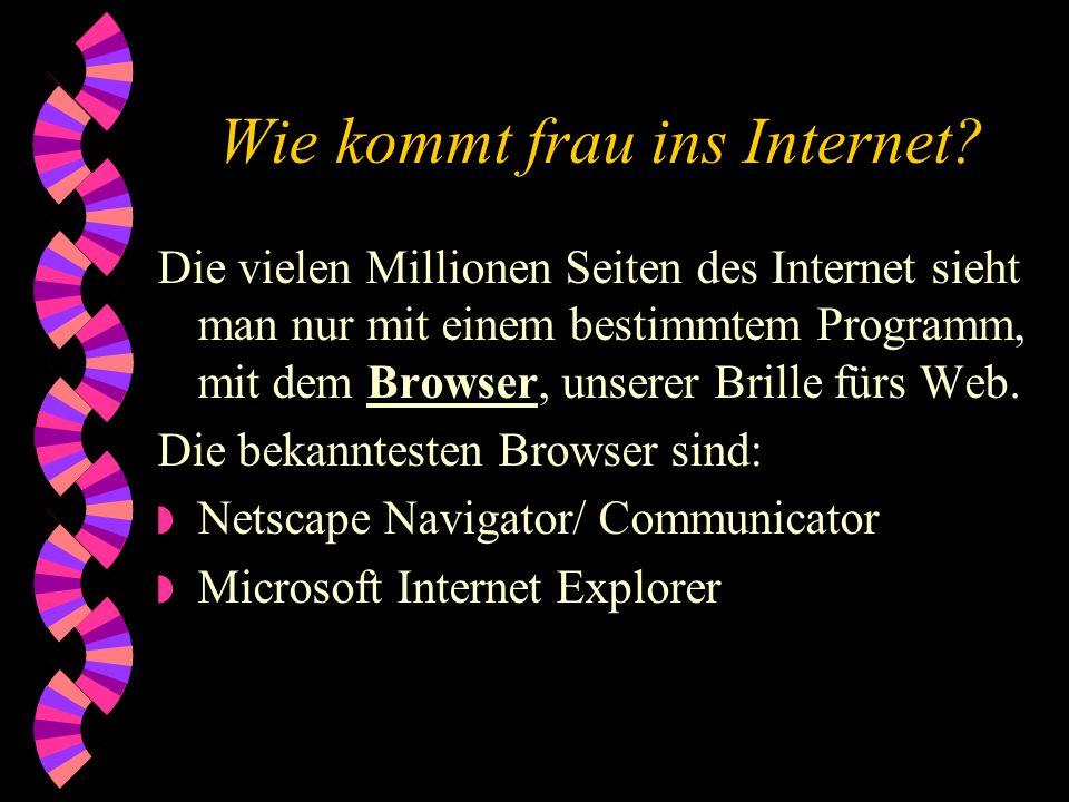 Wie kommt frau ins Internet