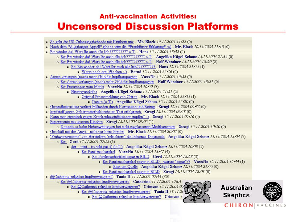Anti-vaccination Activities: Uncensored Discussion Platforms