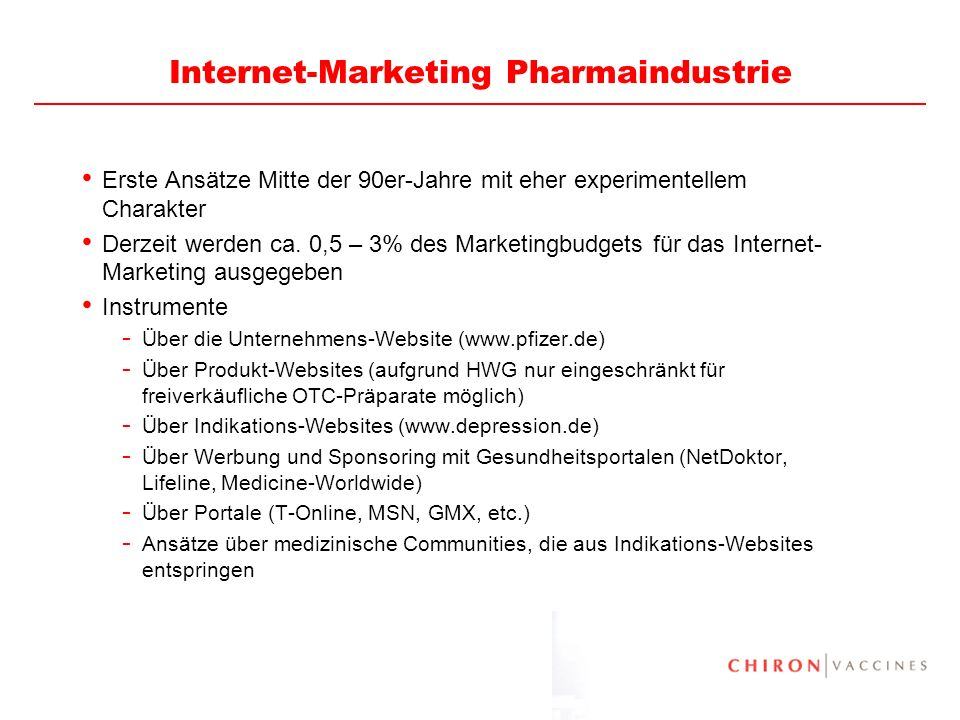 Internet-Marketing Pharmaindustrie