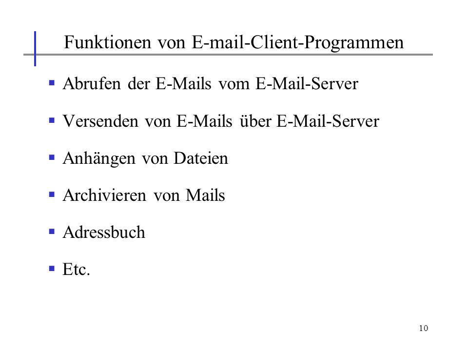 Funktionen von E-mail-Client-Programmen