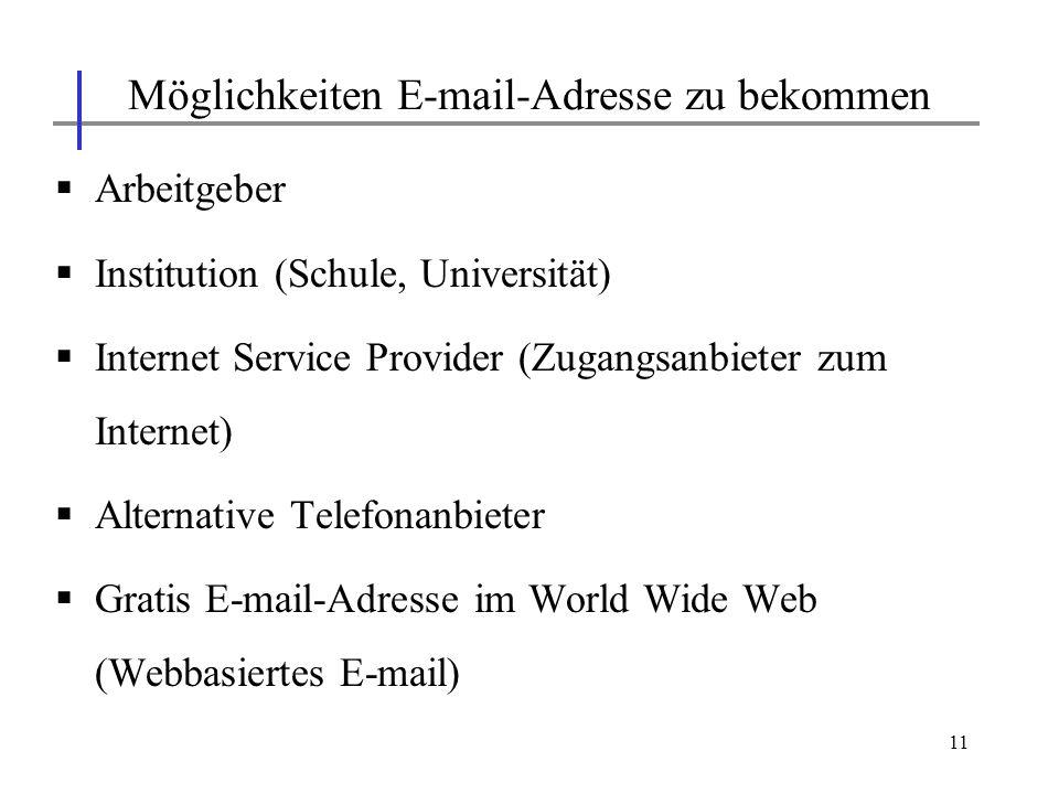 Möglichkeiten E-mail-Adresse zu bekommen
