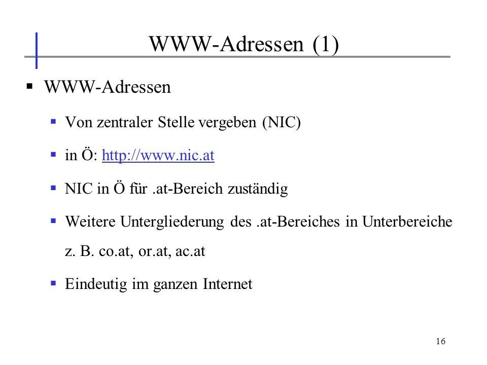 WWW-Adressen (1) WWW-Adressen Von zentraler Stelle vergeben (NIC)