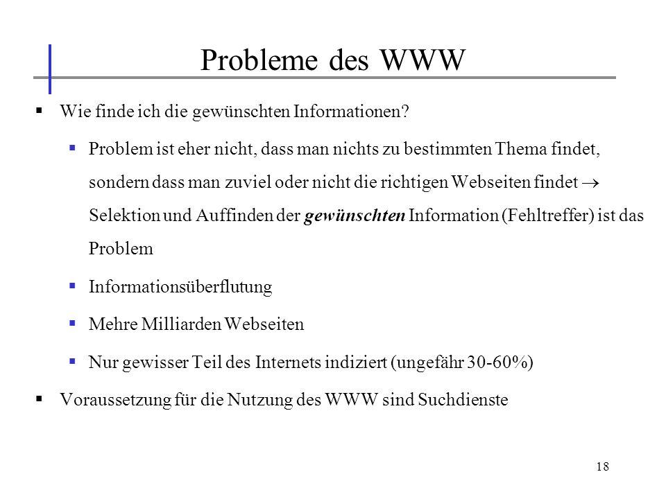 Probleme des WWW Wie finde ich die gewünschten Informationen