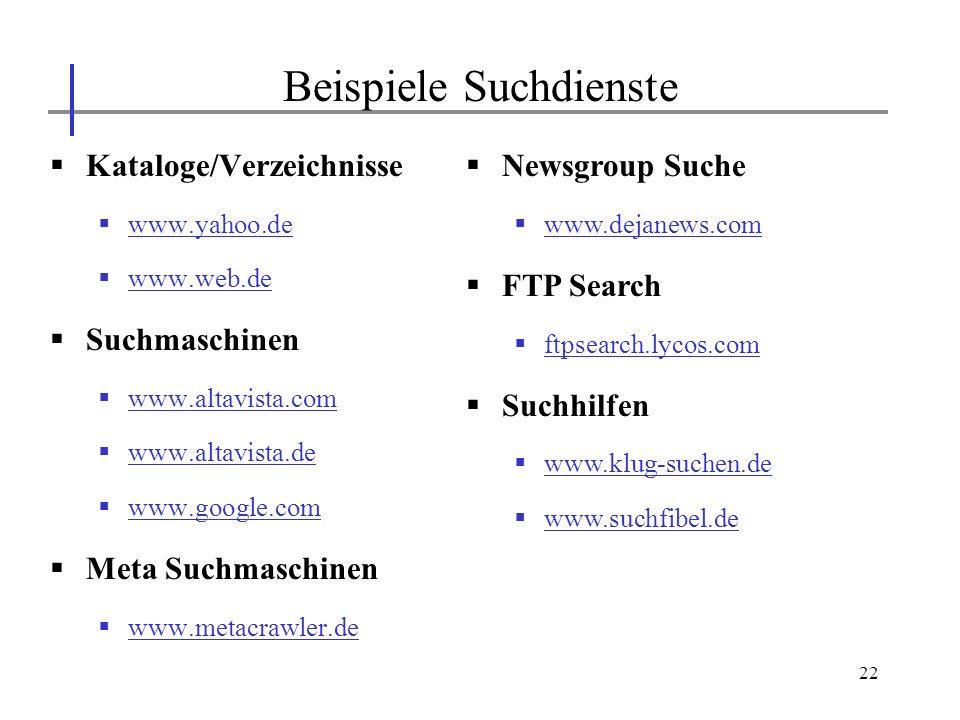 Beispiele Suchdienste