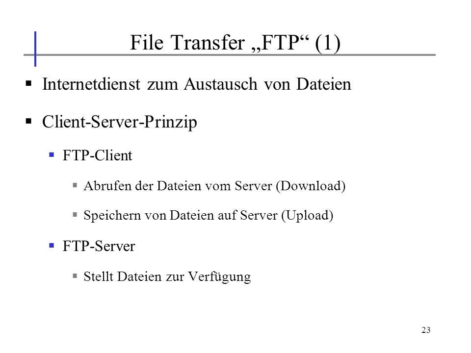 """File Transfer """"FTP (1) Internetdienst zum Austausch von Dateien"""