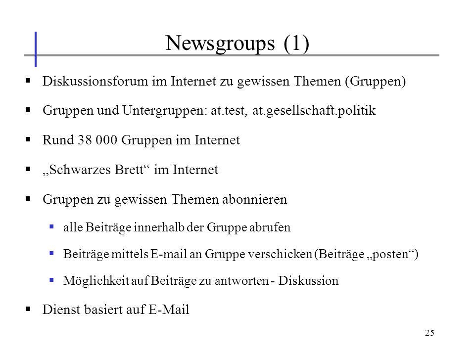 Newsgroups (1) Diskussionsforum im Internet zu gewissen Themen (Gruppen) Gruppen und Untergruppen: at.test, at.gesellschaft.politik.