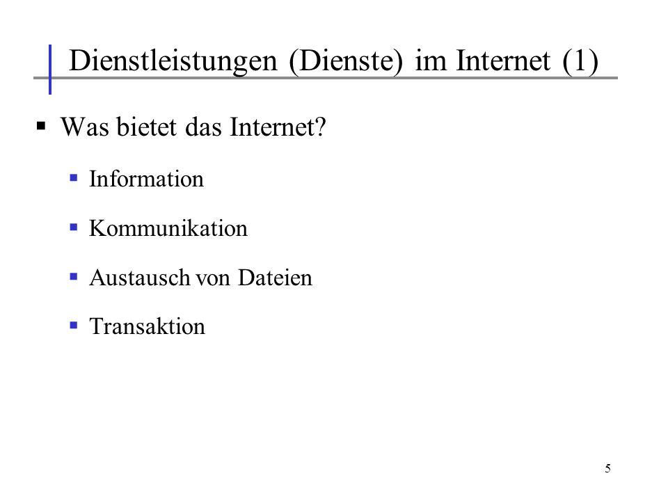 Dienstleistungen (Dienste) im Internet (1)