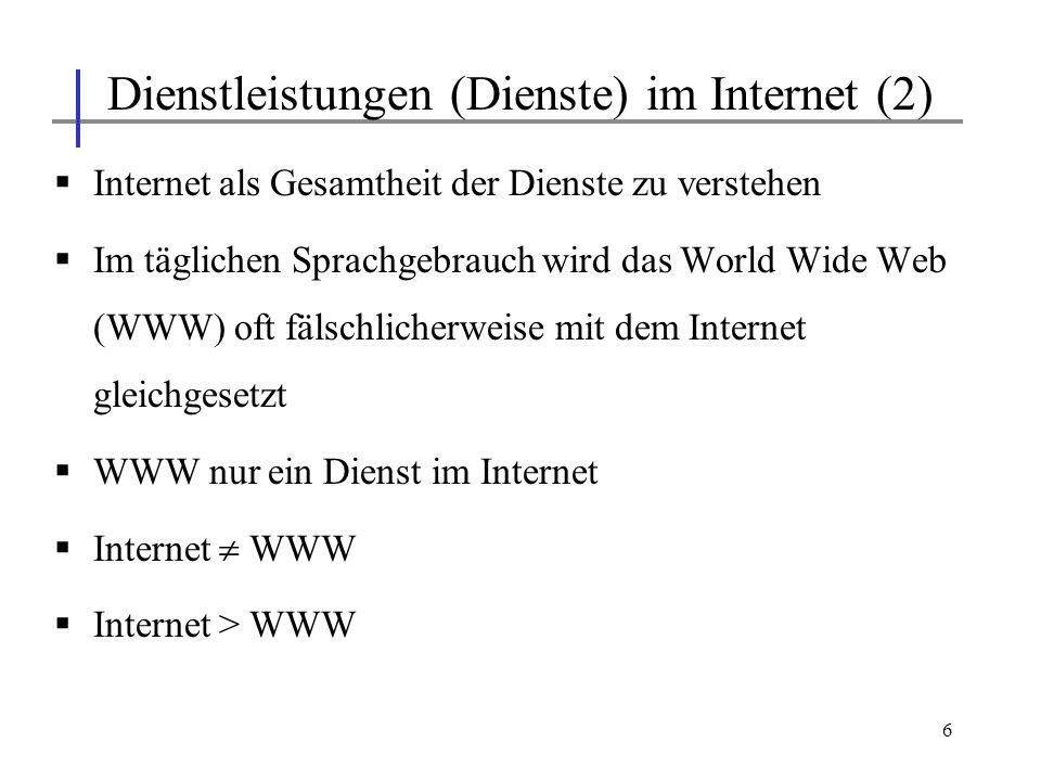 Dienstleistungen (Dienste) im Internet (2)