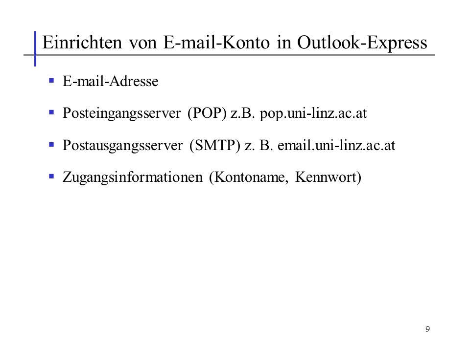 Einrichten von E-mail-Konto in Outlook-Express