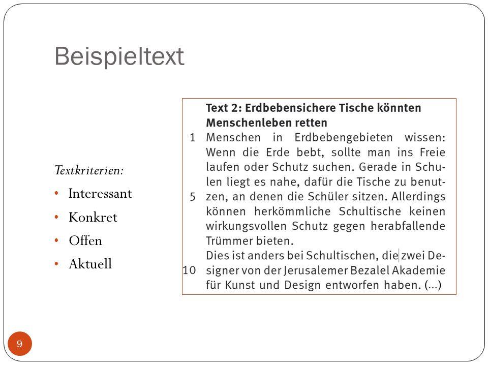 Beispieltext Textkriterien: Interessant Konkret Offen Aktuell
