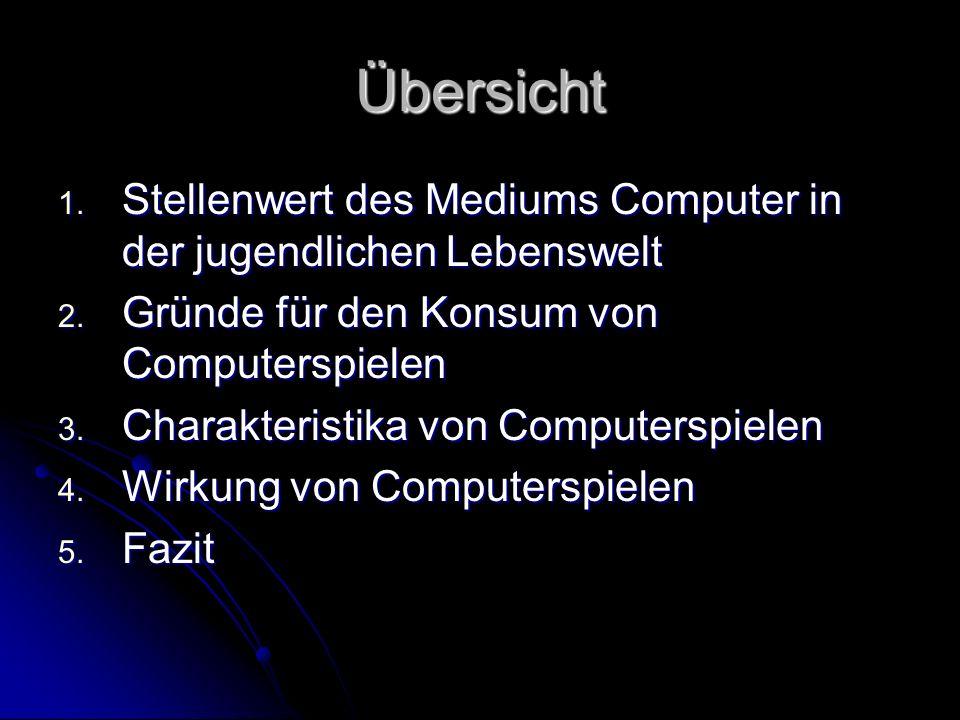 Übersicht Stellenwert des Mediums Computer in der jugendlichen Lebenswelt. Gründe für den Konsum von Computerspielen.