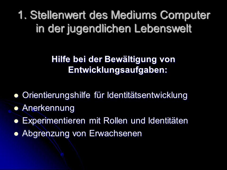 1. Stellenwert des Mediums Computer in der jugendlichen Lebenswelt