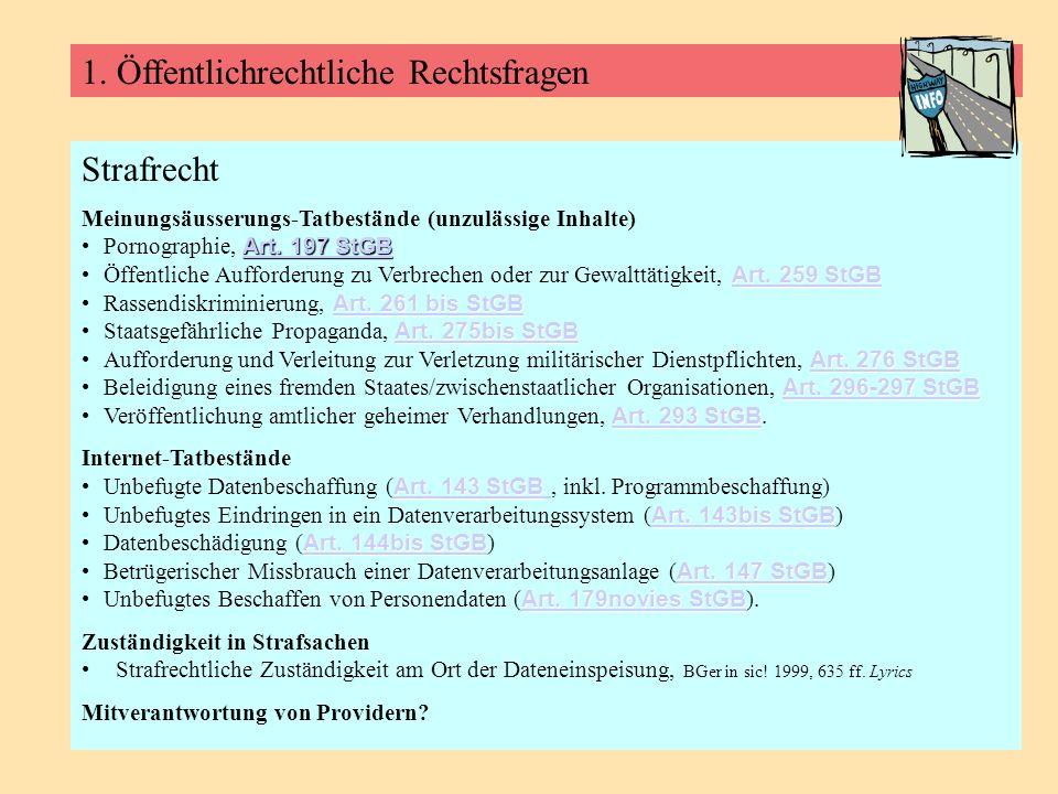 1. Öffentlichrechtliche Rechtsfragen