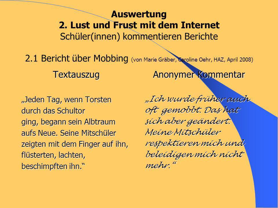 Auswertung 2. Lust und Frust mit dem Internet Schüler(innen) kommentieren Berichte 2.1 Bericht über Mobbing (von Marie Gräber, Caroline Oehr, HAZ, April 2008)