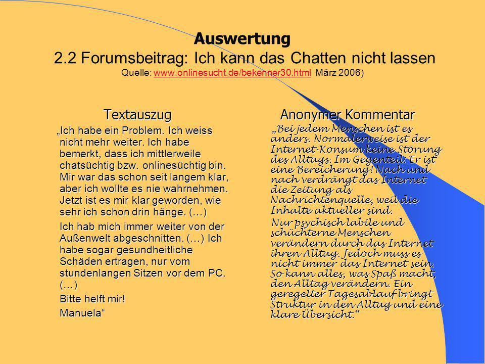 Auswertung 2.2 Forumsbeitrag: Ich kann das Chatten nicht lassen Quelle: www.onlinesucht.de/bekenner30.html März 2006)