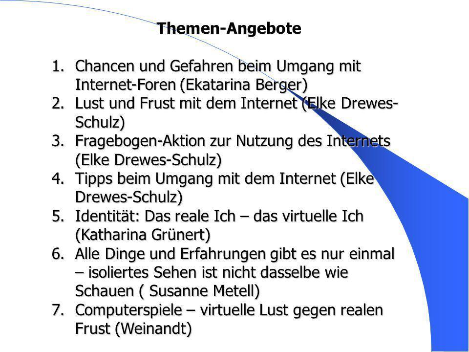 Themen-Angebote Chancen und Gefahren beim Umgang mit Internet-Foren (Ekatarina Berger) Lust und Frust mit dem Internet (Elke Drewes-Schulz)