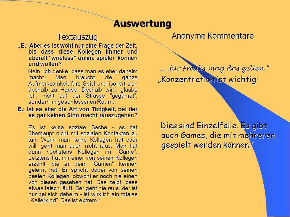 """Auswertung Anonyme Kommentare Textauszug """"Konzentration ist wichtig!"""