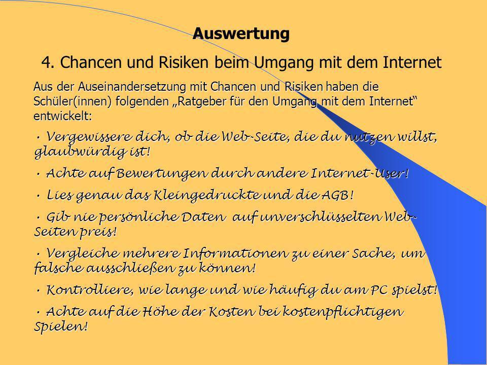 4. Chancen und Risiken beim Umgang mit dem Internet
