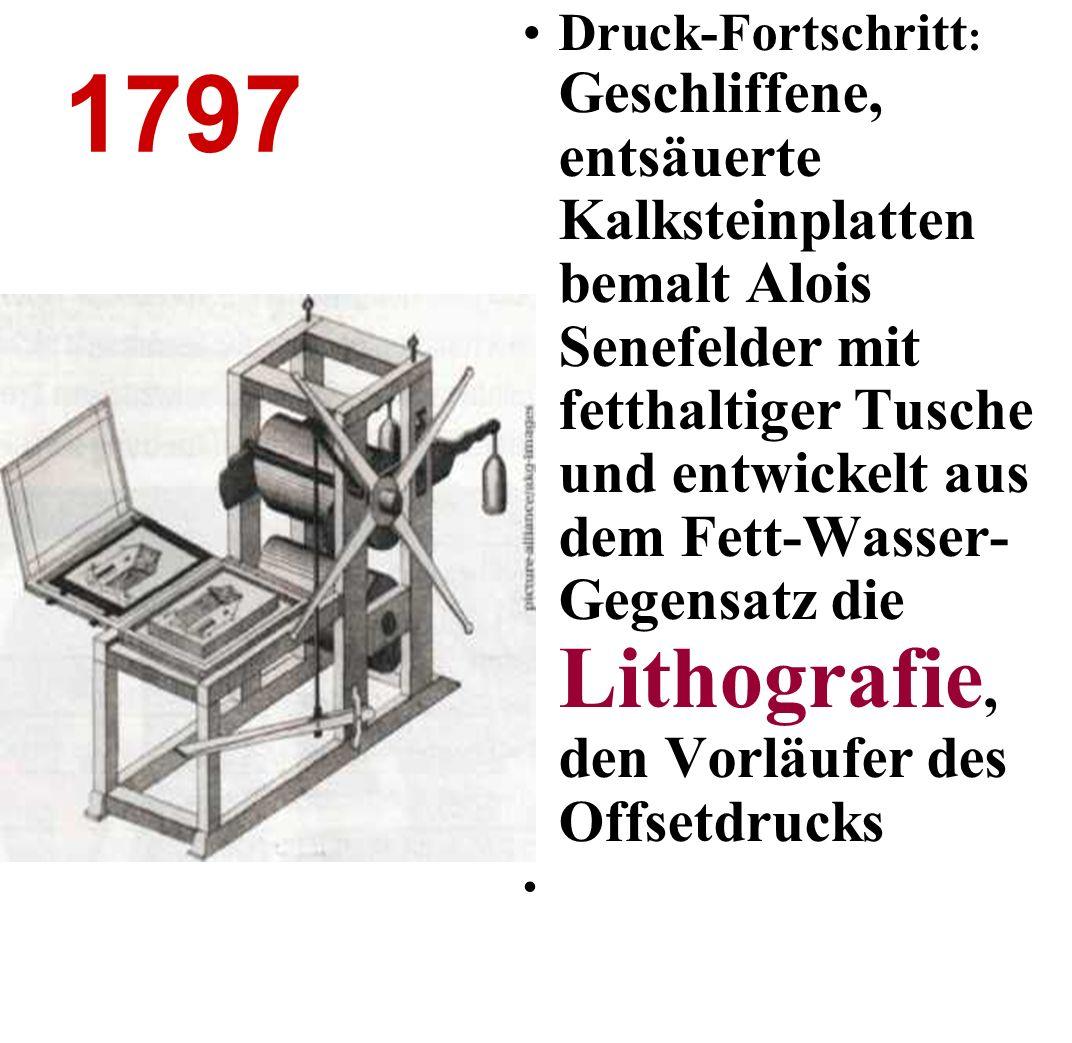 Druck-Fortschritt: Geschliffene, entsäuerte Kalksteinplatten bemalt Alois Senefelder mit fetthaltiger Tusche und entwickelt aus dem Fett-Wasser-Gegensatz die Lithografie, den Vorläufer des Offsetdrucks