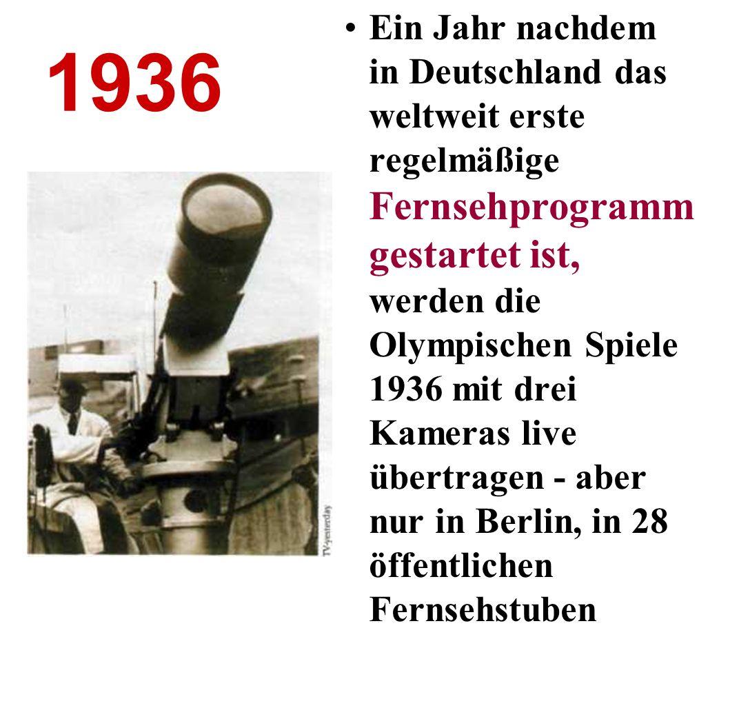 Ein Jahr nachdem in Deutschland das weltweit erste regelmäßige Fernsehprogramm gestartet ist, werden die Olympischen Spiele 1936 mit drei Kameras live übertragen - aber nur in Berlin, in 28 öffentlichen Fernsehstuben