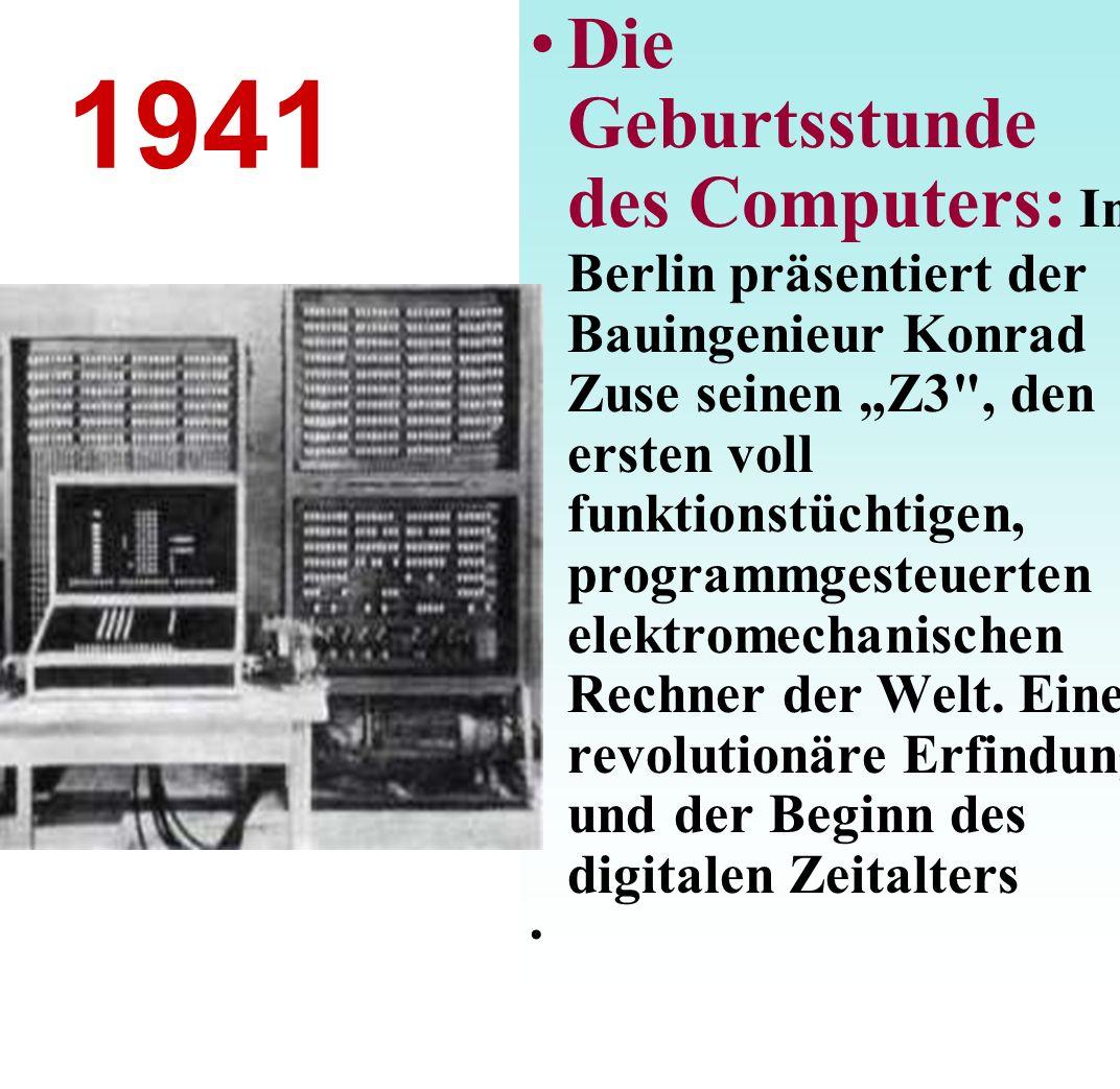 """Die Geburtsstunde des Computers: In Berlin präsentiert der Bauingenieur Konrad Zuse seinen """"Z3 , den ersten voll funktionstüchtigen, programmgesteuerten elektromechanischen Rechner der Welt. Eine revolutionäre Erfindung und der Beginn des digitalen Zeitalters"""