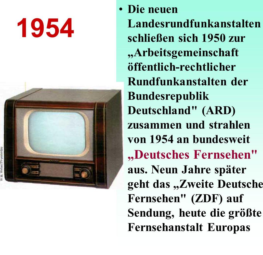"""Die neuen Landesrundfunkanstalten schließen sich 1950 zur """"Arbeitsgemeinschaft öffentlich-rechtlicher Rundfunkanstalten der Bundesrepublik Deutschland (ARD) zusammen und strahlen von 1954 an bundesweit """"Deutsches Fernsеhen aus. Neun Jahre später geht das """"Zweite Deutsche Fernsehen (ZDF) auf Sendung, heute die größte Fernsehanstalt Europas"""