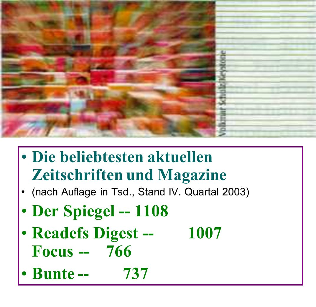 Readefs Digest -- 1007 Focus -- 766 Bunte -- 737
