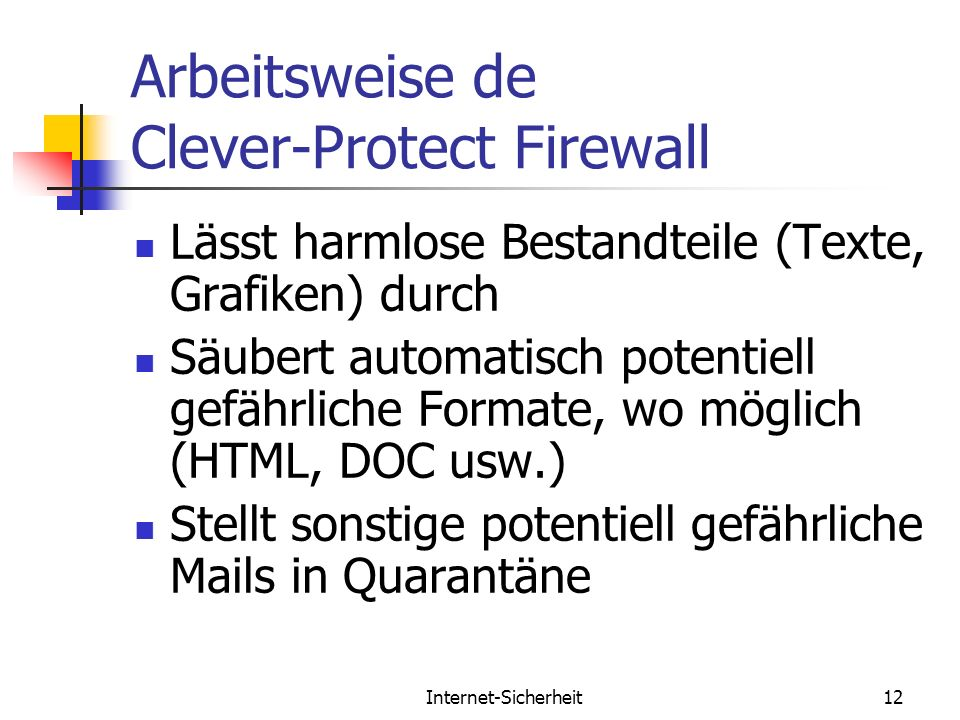 Arbeitsweise de Clever-Protect Firewall