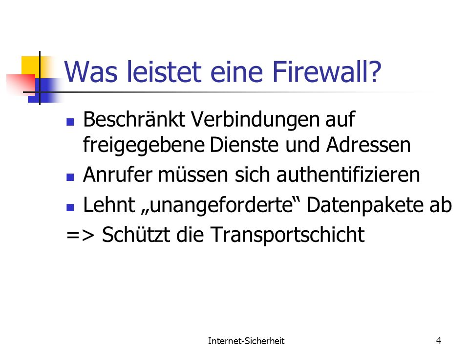 Was leistet eine Firewall