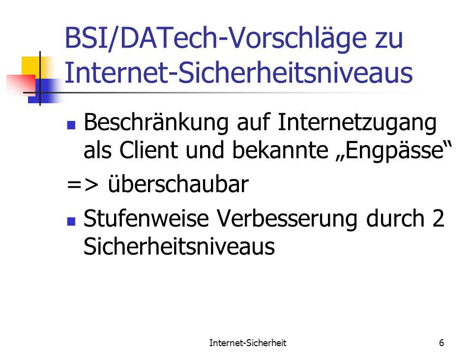 BSI/DATech-Vorschläge zu Internet-Sicherheitsniveaus
