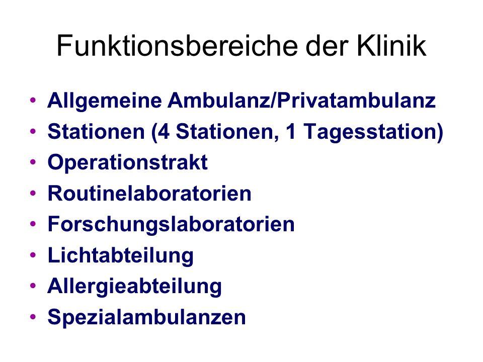 Funktionsbereiche der Klinik
