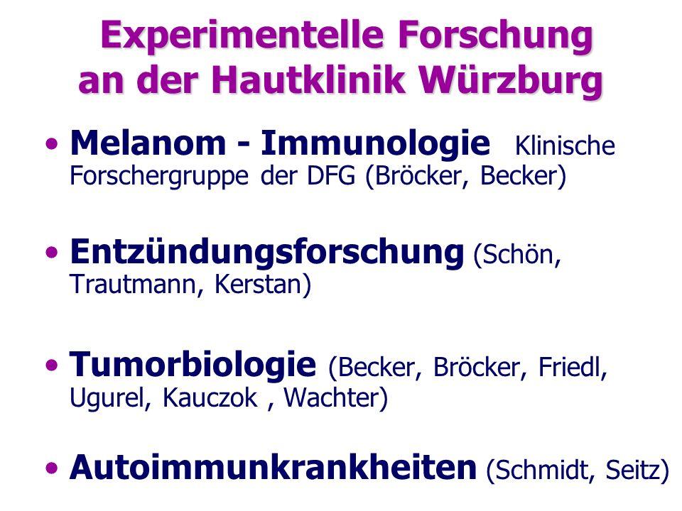 Experimentelle Forschung an der Hautklinik Würzburg