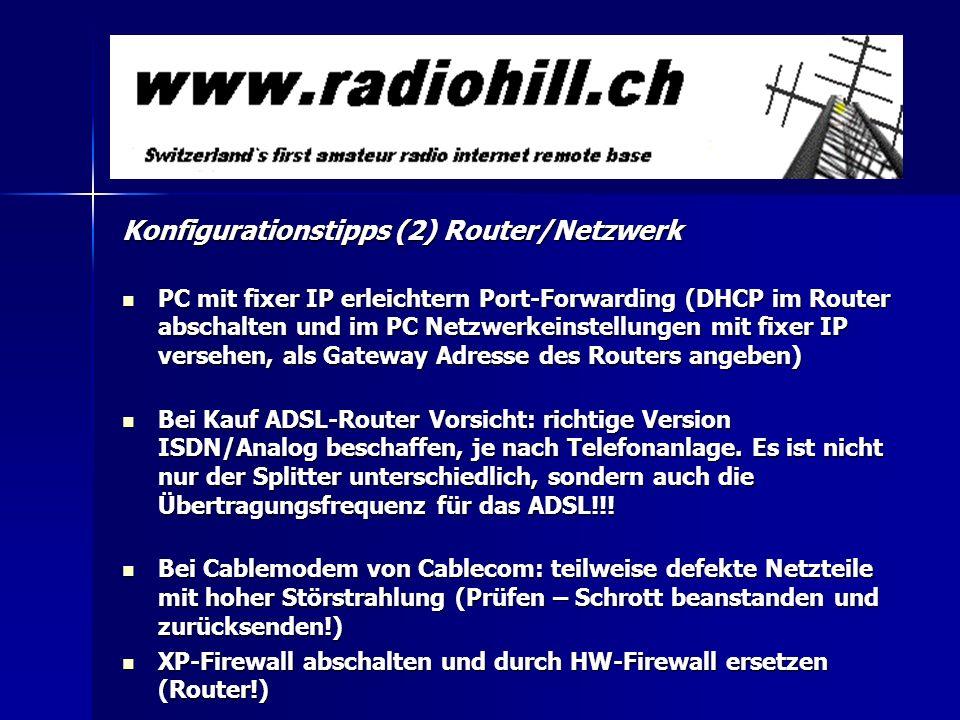 Konfigurationstipps (2) Router/Netzwerk