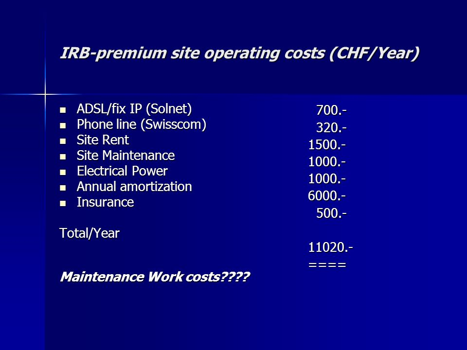 IRB-premium site operating costs (CHF/Year)