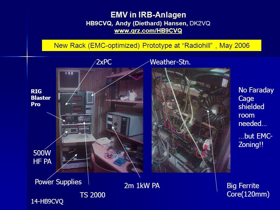 New Rack (EMC-optimized) Prototype at Radiohill , May 2006