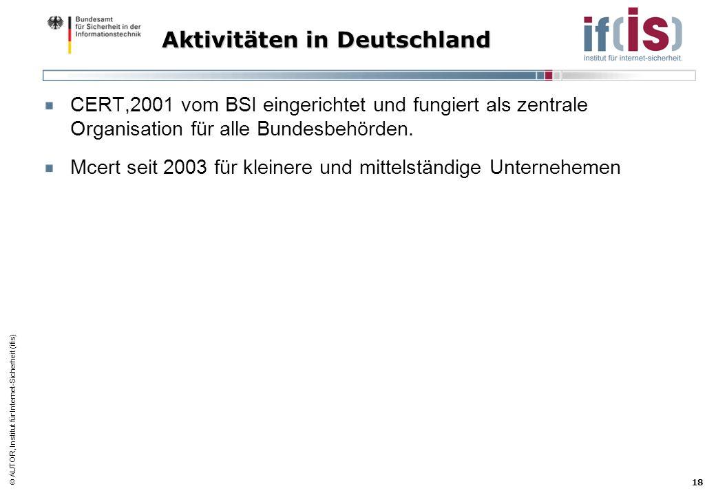 Aktivitäten in Deutschland