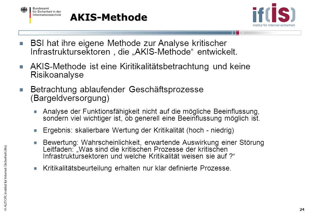 """AKIS-Methode BSI hat ihre eigene Methode zur Analyse kritischer Infrastruktursektoren , die """"AKIS-Methode entwickelt."""
