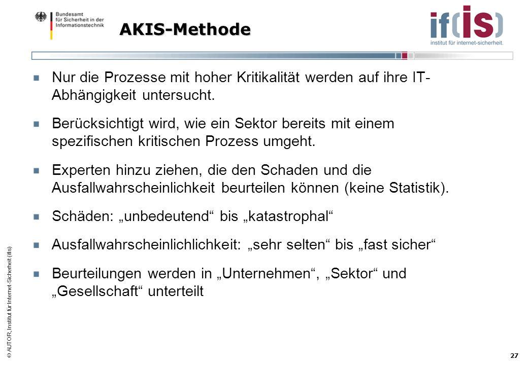 AKIS-Methode Nur die Prozesse mit hoher Kritikalität werden auf ihre IT-Abhängigkeit untersucht.