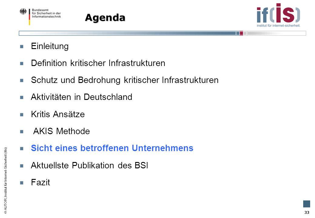 Agenda Einleitung Definition kritischer Infrastrukturen