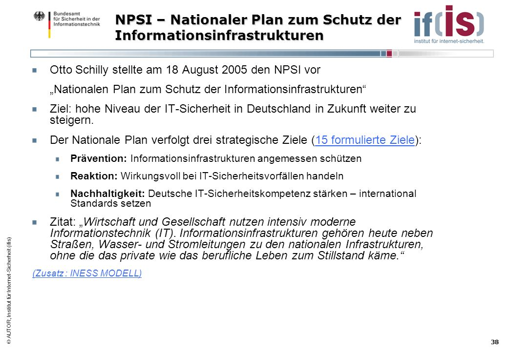 NPSI – Nationaler Plan zum Schutz der Informationsinfrastrukturen