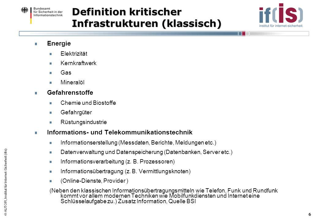 Definition kritischer Infrastrukturen (klassisch)